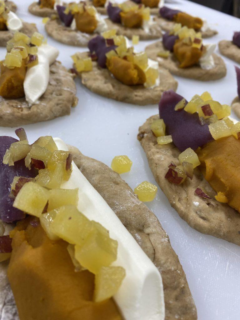 Bagel 紫芋あんとカボチャ餡とさつまとクリチ