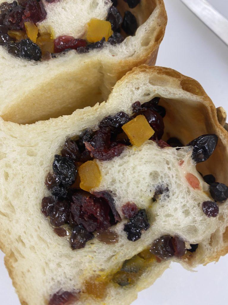 Mini bread カボチャ、カレンツ、クランベリー入り湯種のミニ食パン